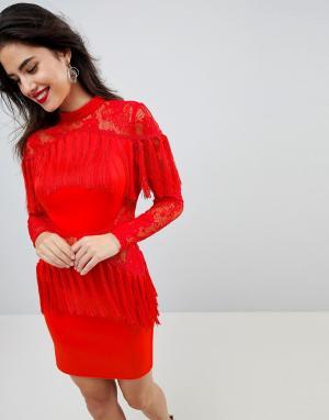 ASOS Платье мини с длинными рукавами и кружевными вставками. Цвет: красный