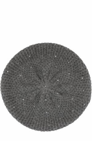 Кашемировый берет с отделкой их страз Swarovski William Sharp. Цвет: темно-серый