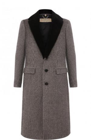 Однобортное шерстяное пальто с меховой отделкой воротника Burberry. Цвет: коричневый