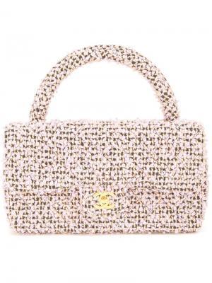 Стеганая твидовая сумка-тоут Chanel Vintage. Цвет: розовый и фиолетовый