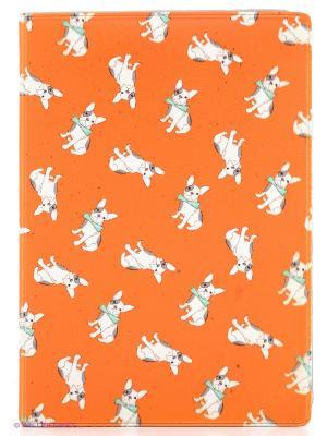 Обложка для автодокументов Бульдожки на оранжевом Mitya Veselkov. Цвет: оранжевый