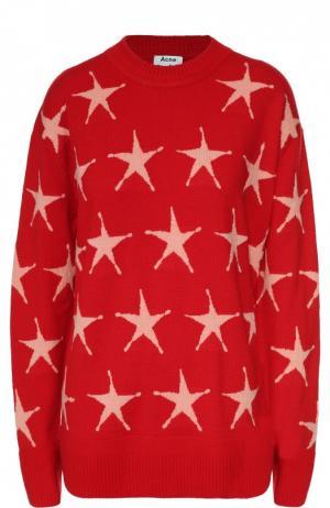 Пуловер со спущенным рукавом и принтом в виде звезд Acne Studios. Цвет: красный
