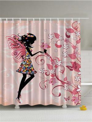Фотоштора для ванной Разноцветные совы, щенок играет, фея у цветущего дерева, киви-велосипед, 180x Magic Lady. Цвет: розовый, белый, черный