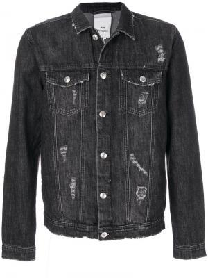 Джинсовая куртка с потертой отделкой Won Hundred. Цвет: чёрный