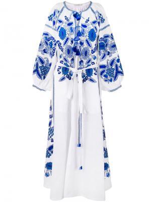 Длинное платье с вышивкой и кисточками Vita Kin. Цвет: белый