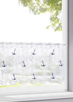 Кухонная штора Якорь (белый/синий) bonprix. Цвет: белый/синий
