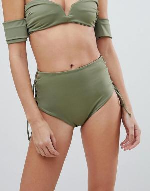 Skye and Staghorn Плавки бикини с завышенной талией и шнуровкой &. Цвет: зеленый