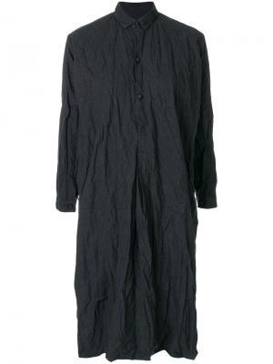 Платье-рубашка с эффектом помятости Daniela Gregis. Цвет: серый