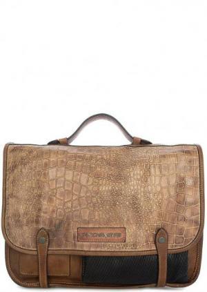 Кожаная сумка с выделкой под рептилию Taschendieb. Цвет: коричневый