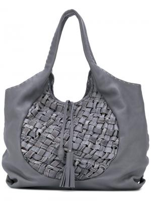 Большая сумка-тоут с плетеной отделкой Henry Beguelin. Цвет: серый