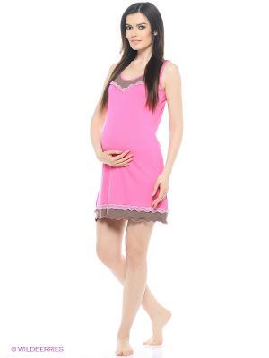 Ночная сорочка для беременных Hunny Mammy. Цвет: розовый, коричневый