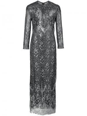 Кружевное платье с барочным узором и длинными рукавами J. Mendel. Цвет: металлический