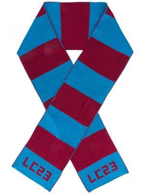 Шарф в полоску с логотипом Lc23. Цвет: синий