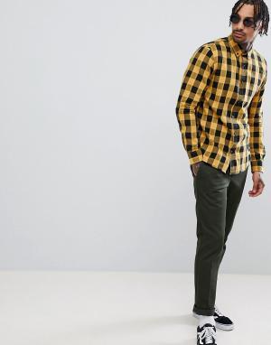 Pull&Bear Желтая рубашка в клетку. Цвет: черный