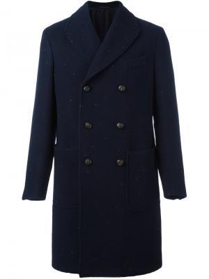 Двубортное пальто The Gigi. Цвет: синий