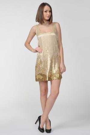Свободное платье со стразами Halston Heritage. Цвет: золото