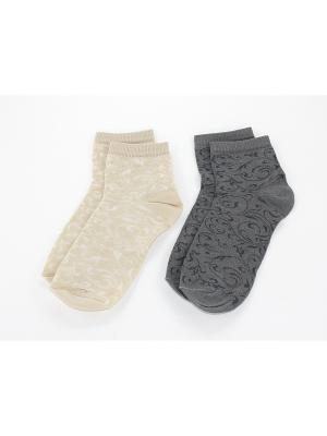 Носки, 2 пары Гамма. Цвет: серый, бежевый