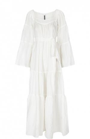 Платье-макси свободного кроя с поясом и широкими рукавами Lisa Marie Fernandez. Цвет: белый