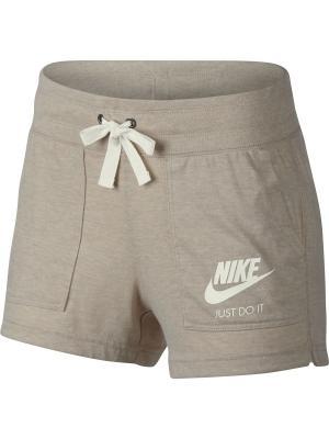 Шорты W NSW GYM VNTG SHORT Nike. Цвет: бежевый