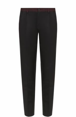 Шерстяные брюки прямого кроя с контрастными лампасами Dolce & Gabbana. Цвет: черный
