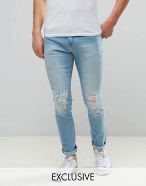 Brooklyn Supply Co. Выбеленные джинсы скинни Co Dumbo. Цвет: синий