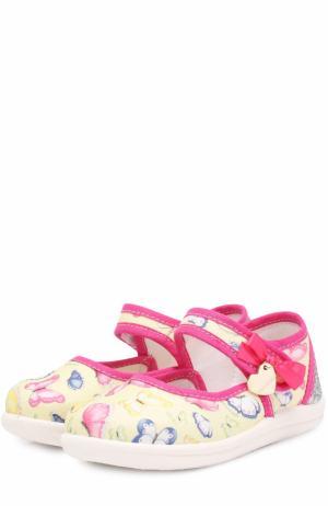 Комбинированные туфли с принтом и застежками велькро Monnalisa. Цвет: желтый