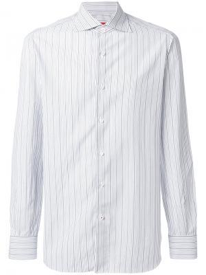 Рубашка в тонкую полоску Isaia. Цвет: синий