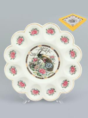 Тарелка для фаршированных яиц Павлин на золоте Elan Gallery. Цвет: белый, коричневый, бежевый