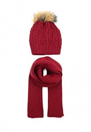 Комплект шапка и шарф Ferz. Цвет: бордовый