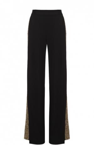 Широкие брюки с эластичным поясом и вышитыми пайетками лампасами Alice + Olivia. Цвет: черный