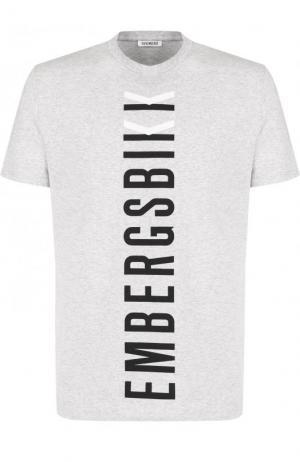 Хлопковая футболка с принтом Dirk Bikkembergs. Цвет: серый