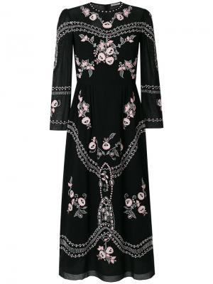 Платье миди с цветочной вышивкой Vilshenko. Цвет: чёрный