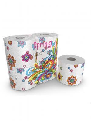 Туалетная бумага Spring серия Kartika, 3-х слойная, 4 рулона по 200 листов, 20.4 м/рулон World Cart. Цвет: белый