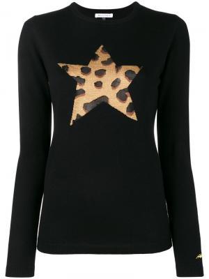 Джемпер со звездой и леопардовым принтом Bella Freud. Цвет: чёрный