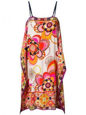 Свободное платье с цветочным принтом Trina Turk. Цвет: белый