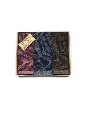 Набор полотенец 3 предмета Сафари, в подарочной коробке. La Pastel. Цвет: синий, темно-бордовый, коричневый