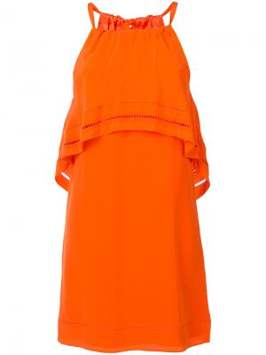 Платье с оборкой Trina Turk. Цвет: жёлтый и оранжевый