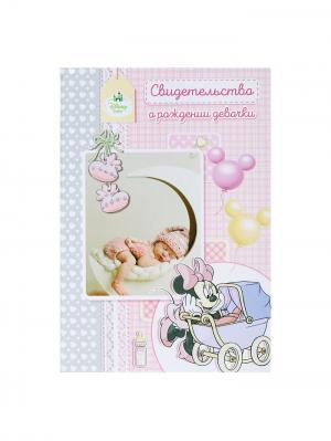 Папка для свидетельства о рождении A5 Минни Disney. Цвет: светло-серый,бледно-розовый,персиковый