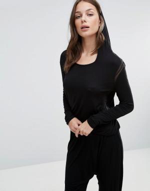 Heidi Klum Intimates Лонгслив с капюшоном. Цвет: черный