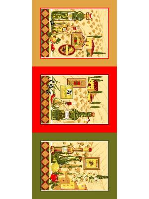 Набор полотенец Letto KVN3-04, хлопок, 3 шт. 47*62см. Цвет: бежевый, красный, зеленый
