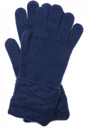 Вязаные перчатки из кашемира Kashja` Cashmere. Цвет: синий
