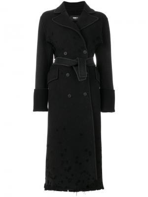 Двубортное пальто с поясом Yang Li. Цвет: чёрный