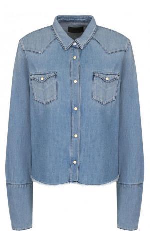Джинсовая блуза свободного кроя с потертостями RTA. Цвет: голубой