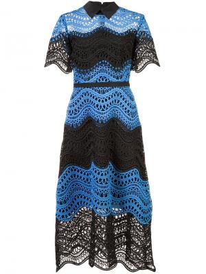 Вязанное платье с расклешенной юбкой Lela Rose. Цвет: чёрный