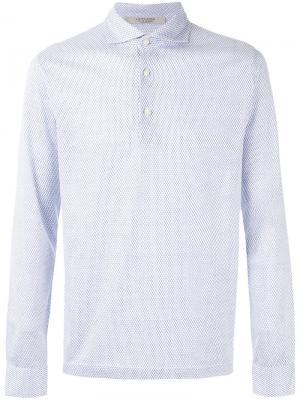 Рубашка-поло с мелким узором La Fileria For Daniello D'aniello. Цвет: белый