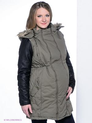 Куртка Mama Licious. Цвет: зеленый, черный