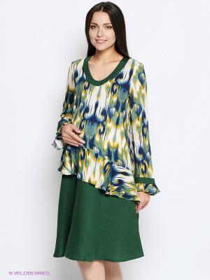Платье MammySize. Цвет: зеленый, бежевый