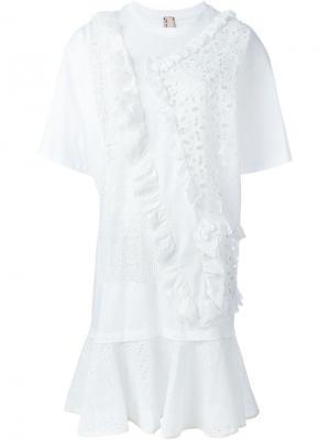 Кружевное платье Antonio Marras. Цвет: белый