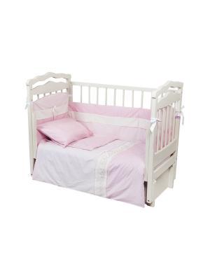 Набор для детской кровати КПБ и борт Dream time. Цвет: розовый, белый