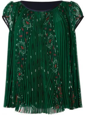 Плиссированная блузка Sacai. Цвет: зелёный